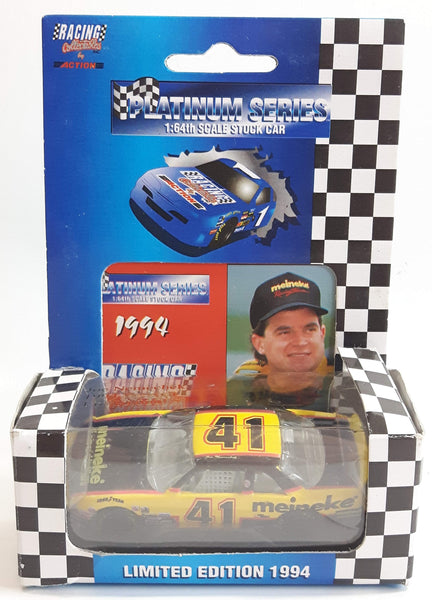 1994 Limited Edition Action Racing Platinum Series NASCAR #41 Joe Nemechek Meineke Chevy Lumina Yellow and Black Die Cast Race Stock Car Vehicle - New in Box