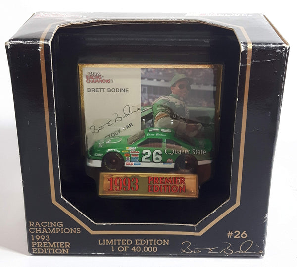1993 Racing Champions Premier Edition NASCAR #26 Brett Bodine Quaker State Ford Thunderbird Green Die Cast Race Car Vehicle - New in Box
