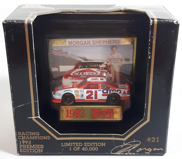 1993 Racing Champions Premier Edition NASCAR #21 Morgan Shepherd Citgo Ford Thunderbird White and Orange Die Cast Race Car Vehicle - New in Box