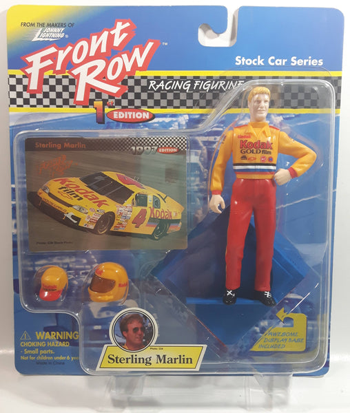"1997 Johnny Lightning Front Row 1st Edition NASCAR Stock Car Series #4 Sterling Marlin Kodak Gold Film 5"" Tall Toy Race Car Driver Figure with Helmet, Hat, Display Base, and Collector Card New in Package"