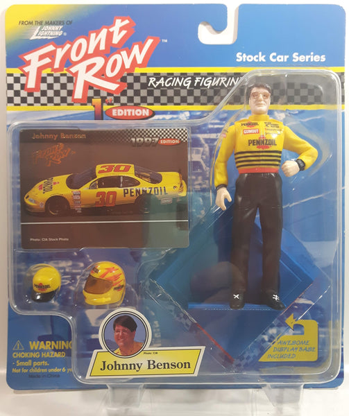"1997 Johnny Lightning Front Row 1st Edition NASCAR Stock Car Series #30 Johnny Benson Pennzoil 5"" Tall Toy Race Car Driver Figure with Helmet, Hat, Display Base, and Collector Card New in Package"
