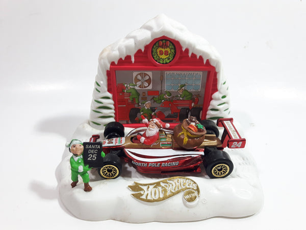 1998 Hot Wheels Holiday Exclusive Kringle's Kart Santa Claus Formula 1 North Pole Racing #24 Metallic Red and White Die Cast Toy Car Vehicle With Stand