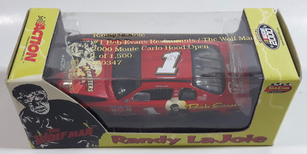 2000 Action Racing Limited Edition 1 of 1500 NASCAR #1 Randy LaJoie 2000 Monte Carlo Hood Open Bob Evans Restaurants / The Wolf Man Red Die Cast Race Car Vehicle - New in Box
