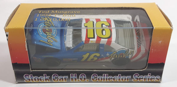 1994 Action Racing Limited Edition 1 of 10,000 NASCAR Stock Car H.O Collector Series #16 Ted Musgrave 1994 T-Bird The Family Channel Red, White, and Blue Die Cast Race Car Vehicle - New in Box