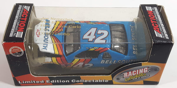 1997 Action Racing Collectibles Club of America Limited Edition 1 of 3,500 NASCAR #42 Joe Nemechek 1997 Monte Carlo Bell South Blue and White Die Cast Race Car Vehicle - New in Box