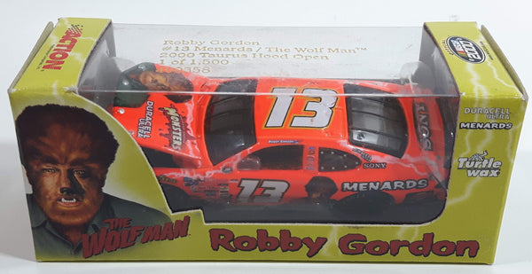 2000 Action Racing Limited Edition 1 of 1500 NASCAR #13 Robby Gordon 2000 Ford Taurus Hood Open Menards / The Wolf Man Fluorescent Orange Die Cast Race Car Vehicle - New in Box