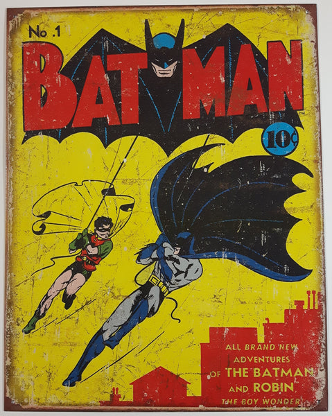 "2013 DC Comics Vintage Style No. 1 Batman Cover Tin Metal Sign 12 1/2"" x 16"""