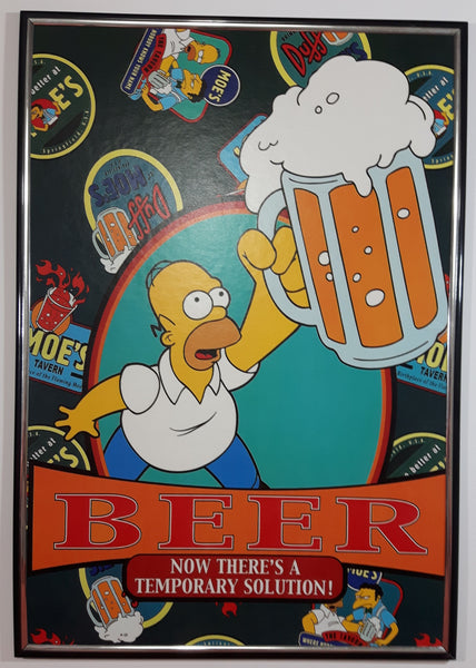 "The Simpsons Homer Simpson BEER ""Now There's A Temporary Solution"" 1/4"" x 12 1/2"" x 16 1/2"" Framed Thick Paper Poster"