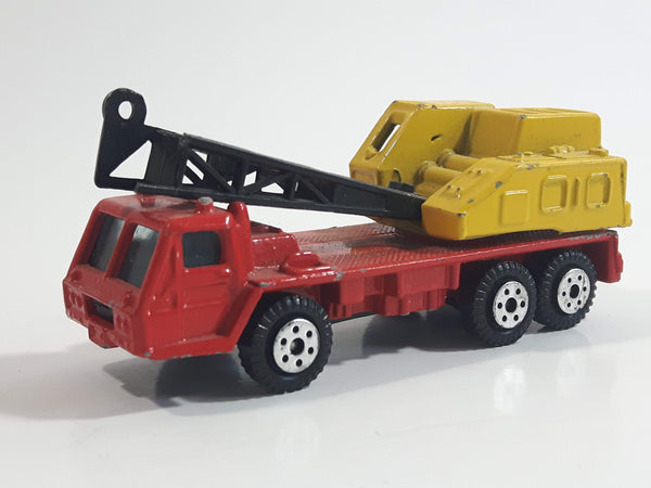 Yatming Crane Truck Red and Yellow Die Cast Toy Car Construction Equipment Vehicle