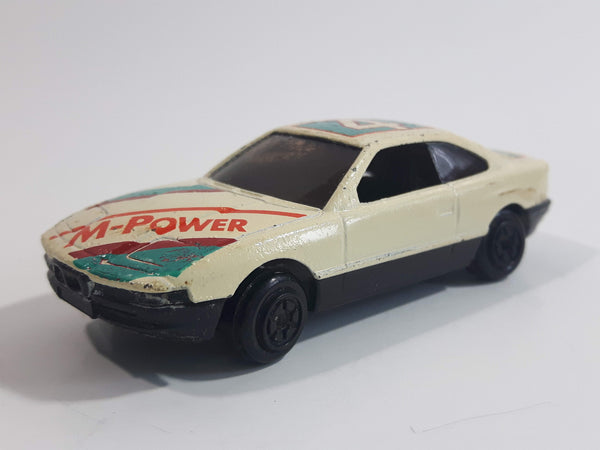 Yatming BMW 850i Tan White Red M-Power Blue #4 Sport No. 804 Die Cast Toy Car Vehicle