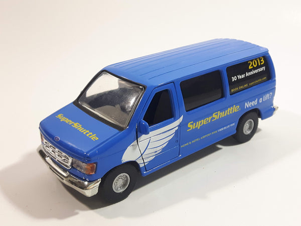 2013 Tins Toys T658 / T634 Ford E Series E-350 Cargo Van Super Shuttle 30 Year Anniversary Blue 1:43 Scale Pullback Friction Motorized Die Cast Toy Car Vehicle with Opening Doors