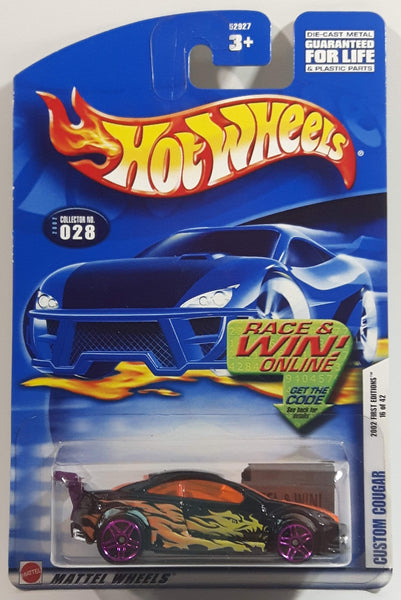 2002 Hot Wheels First Editions Custom Cougar Black Die Cast Toy Car Vehicle New in Package