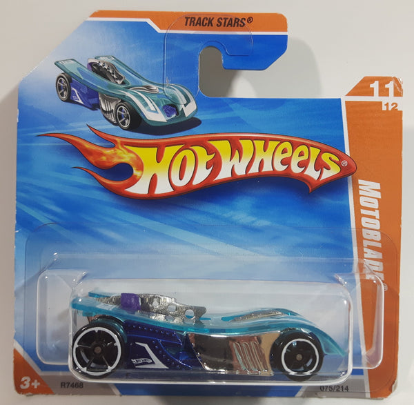 2010 Hot Wheels Track Stars Motoblade Clear Blue Die Cast Toy Car Vehicle New in Package - Short Card