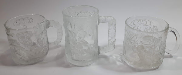 1995 McDonald's DC Comics Batman Forever Embossed Glass Mugs Robin, The Riddler, and Two-Face Set of 3