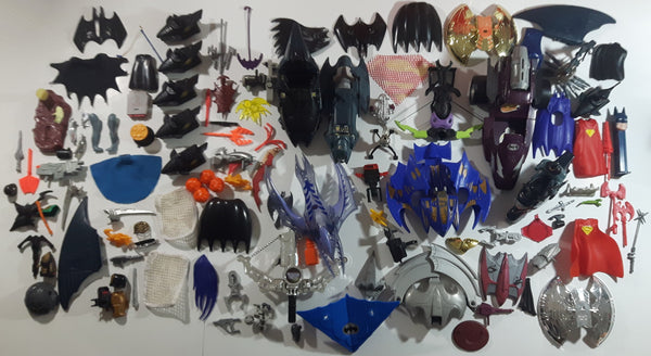 Large Mixed Lot of Batman, Superman, and Other Super Hero Vehicles and Accessories