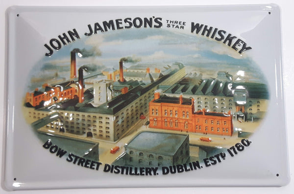 "Vintage Style John Jameson's Three Star Whiskey Bow Street Distillery Dublin Est. 1780 8"" x 11 3/4"" Embossed Tin Metal Sign"