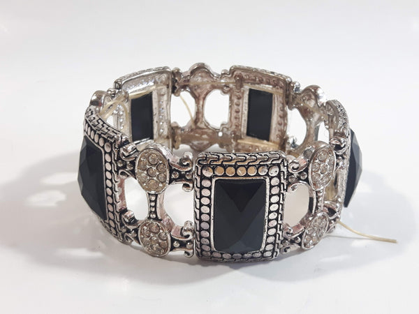 Black Plastic Stones with Clear Sparkling Rhinestone Metal Bracelet