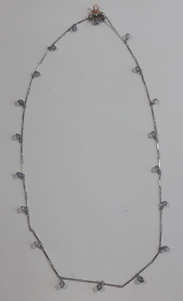 "Clear Plastic Bead 24"" Long Metal Necklace"
