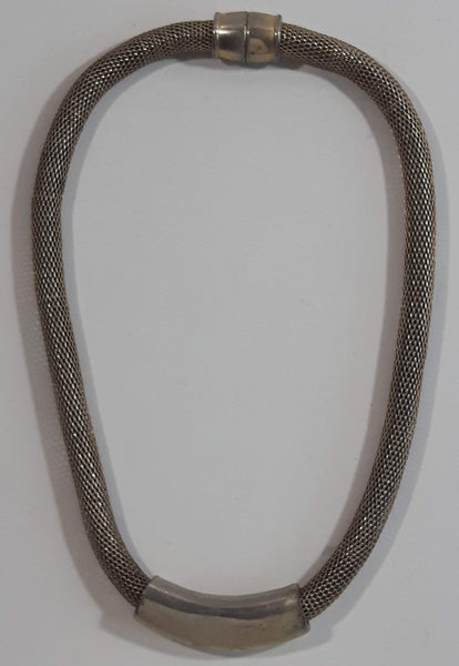 "Thick Hollow Tube Bottom Roll 16"" Long Metal Choker Necklace with Magnetic Clasp"