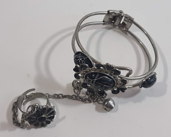 Black Enamel with Plastic Faux Black Howlite Metal Bracelet with Chain Attached Ring