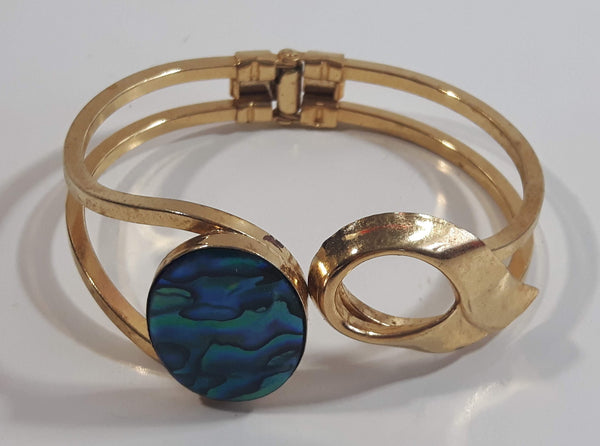Oval Mother of Pearl Abalone Gold Tone Hinged Bracelet