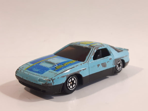 Yatming No. 807 Mazda RX-7 Turbo Super 8 Light Blue Die Cast Toy Car Vehicle
