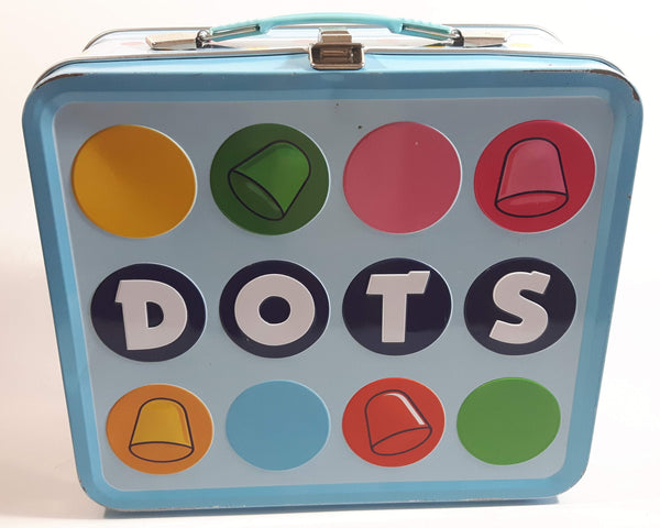 2010 Dots Candy Snack Embossed Light Blue Tin Metal Lunch Box