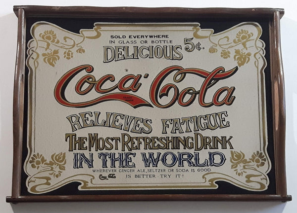 Vintage Coca-Cola Coke Delicious 5 Cents Relieves Fatigue Wood Framed Mirror Pub Lounge Beverage Drink Tray