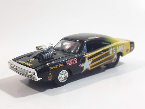 2002 Racing Champions NHRA Nitro Rods Drag Racing Series '70 Dodge Charger U.S. Army Black Green Yellow Die Cast Toy Race Car Vehicle with Opening Hood
