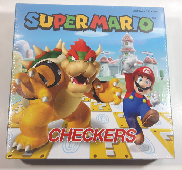 2019 Nintendo Super Mario Checkers Board Game Bowser & Mario Cover New in Box Sealed
