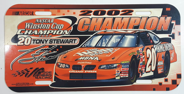 2002 Joe Gibbs Racing NASCAR Winston Cup Champion #20 Tony Stewart Pontiac Grand Prix The Home Depot Plastic Vehicle License Plate Tag