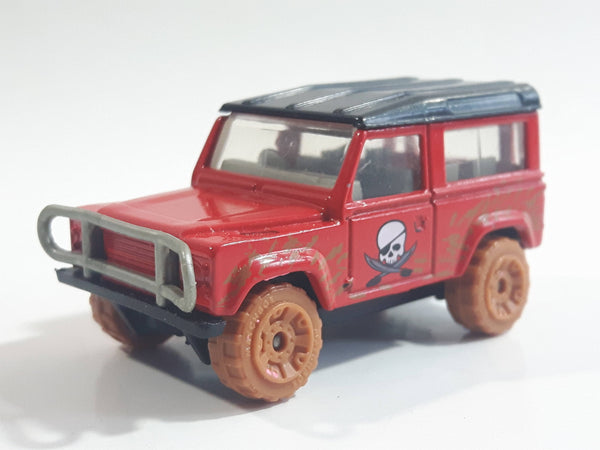 2007 Matchbox Pirate Island Land Rover 90 Red and Black Die Cast Toy Car Vehicle