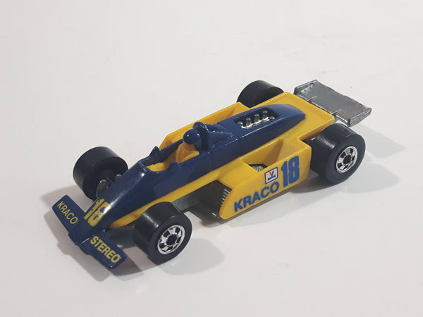 1989 Hot Wheels Thunderstreak Formula Fever Yellow and Blue Die Cast Toy Race Car Vehicle