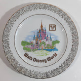 "Vintage Walt Disney World Pink Castle Themed Gold Trimmed Brown Speckled 7 1/2"" Collector Plate Wall Hanging"