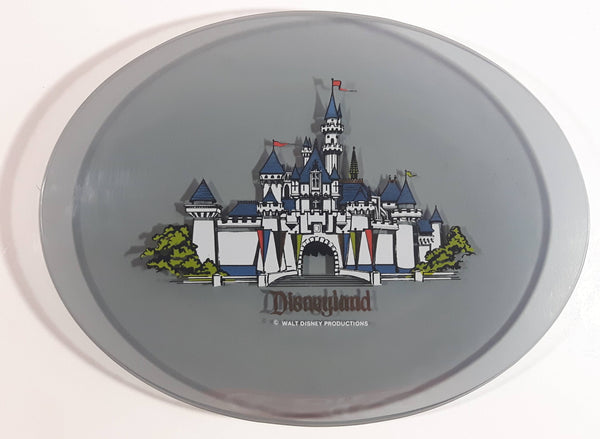 "Vintage Walt Disney Productions Disneyland White Castle Themed 6 1/4"" x 8 1/2"" Oval Shaped Tinted Glass Plate"