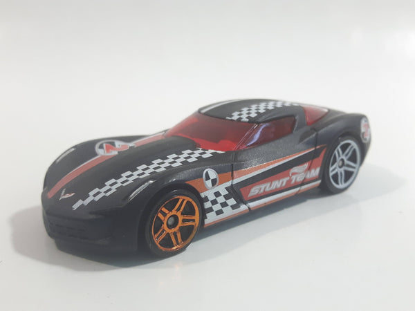 2012 Hot Wheels Thrill Racers - City Stunt 2009 Corvette StingRay Concept Flat Black Die Cast Toy Car Vehicle