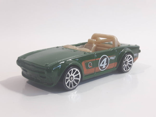 2013 Hot Wheels Triumph TR6 Green #4 Die Cast Toy Race Car Vehicle