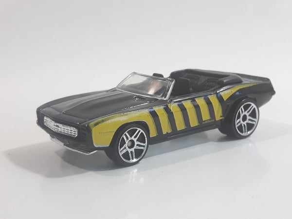 2008 Hot Wheels 1969 Chevrolet Camaro Convertible Black w/ Yellow Bee Die Cast Toy Car Vehicle