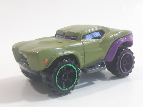 2014 Hot Wheels Marvel Character Cars Hulk Olive Green and Purple Die Cast Toy Car Vehicle