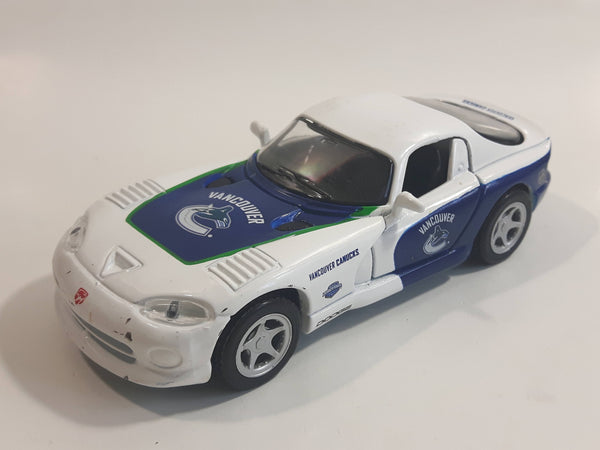 2010 Maisto Top Dog Collectibles NHL Ice Hockey Vancouver Canucks Dodge Viper GTS White 1/39 Scale Pull Back Motorized Friction Die Cast Toy Race Car Vehicle with Opening Doors