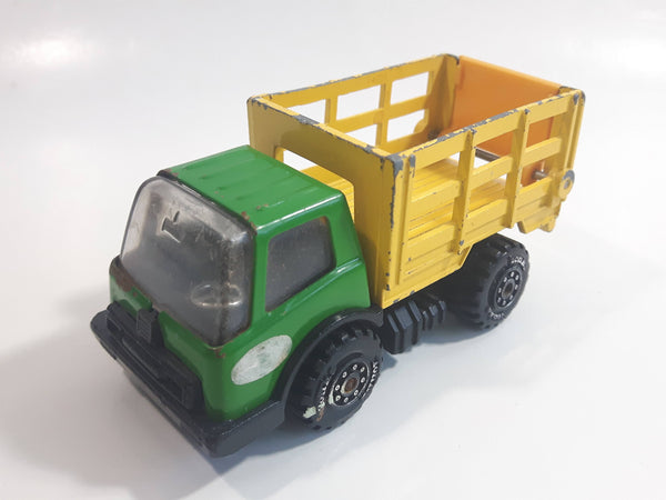 Vintage Tonka Farm Livestock Truck Green and Yellow Pressed Steel Toy Car Vehicle with Opening Rear Gate Made in Japan