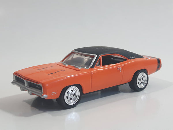 2009 Johnny Lightning Muscle Cars No. 488 1969 Dodge Charger R/T 440 Orange Die Cast Toy Car Vehicle with Opening Hood