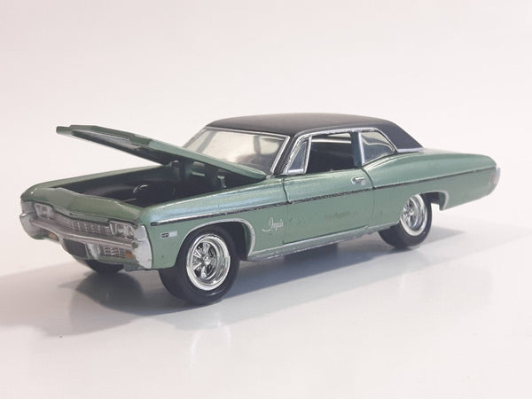 Johnny Lightning Muscle Cars No. 942 1968 Chevy Impala Satin Mint Green with Black Roof Die Cast Toy Car Vehicle with Opening Hood
