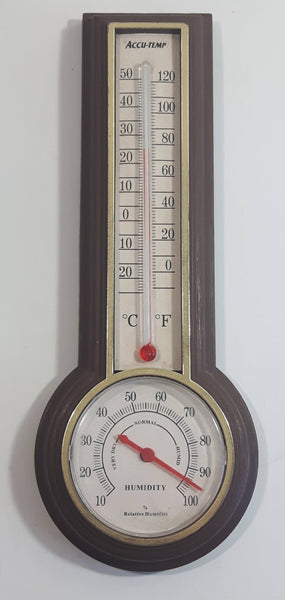 Vintage Springfield Accu-Temp Wood Texture Plastic Case Thermometer Hygrometer Weather Station