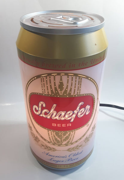 "2001 Rabbit Tanaka Pabst Brewing Company Schaefer Beer ""America's Oldest Lager Beer"" 10"" Tall Beer Can Shaped Rotating Plug In Electric Lamp Light"