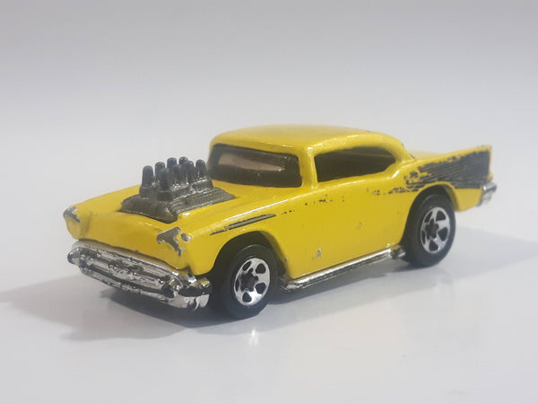 1996 Hot Wheels '50's Favorites '57 Chevy Yellow Die Cast Toy Muscle Car Vehicle