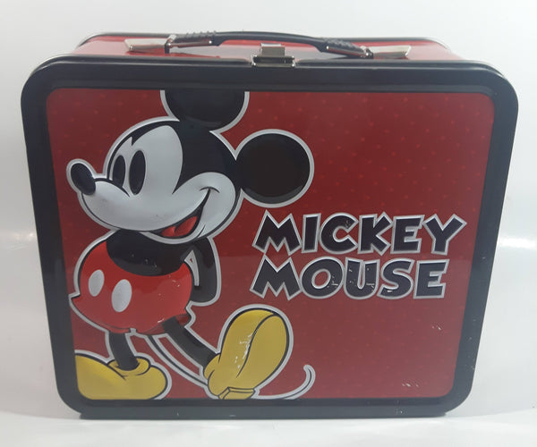 2011 Loungefly Disney Mickey Mouse Red and Black Embossed Tin Metal Lunch Box