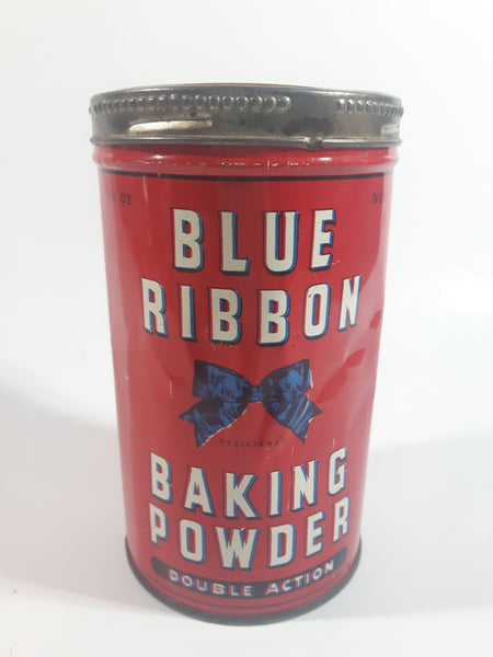 Vintage Blue Ribbon Double Action Baking Powder 16 oz. Red Tin Metal Canister with Lid