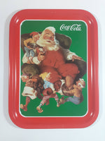 "1990 Coca-Cola Coke ""Santa With Elves"" 1960 Christmas Print Ad Metal Beverage Tray"