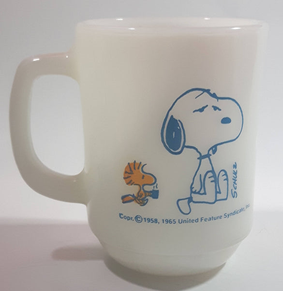 "Vintage 1965 Anchor Hocking Fire King Schulz Snoopy and Woodstock ""I'm Not Worth A Thing Before Coffee Break! White Milk Glass Coffee Mug"